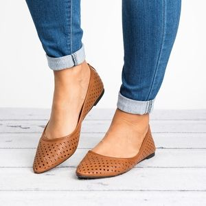 Perforated Tan Pointy Flats
